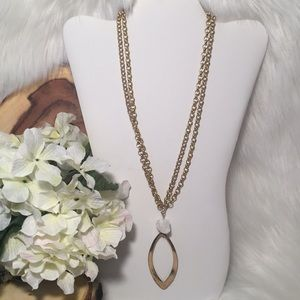 Double Chain, White Stone Necklace!